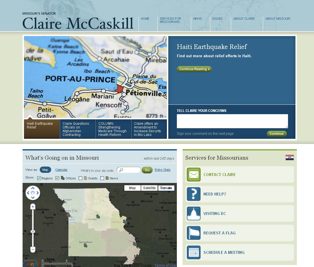 I Really Like Senator Claire McCaskill's New Website.